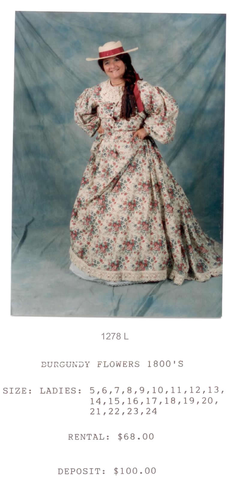 1800's BURGANDY FLOWER DRESS